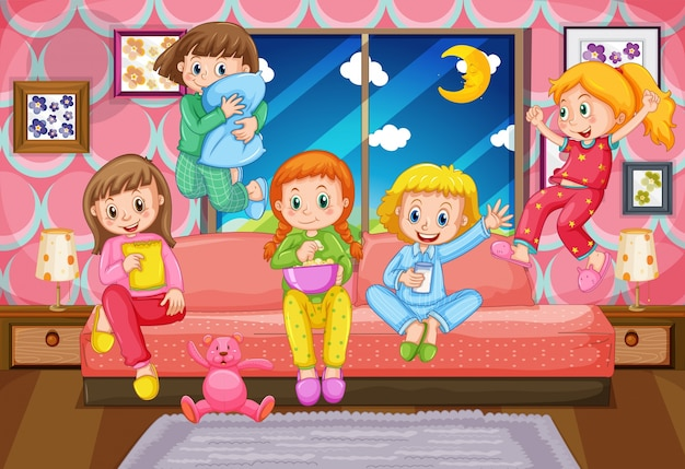 Fünf mädchen, die pyjamaparty nachts haben