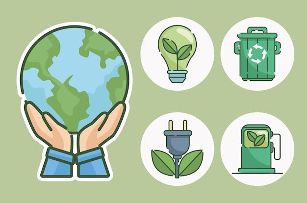 Fünf ökologie-konzeptsymbole