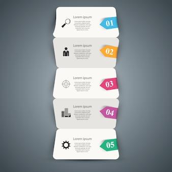 Fünf papiergeschäftsorigami infographic