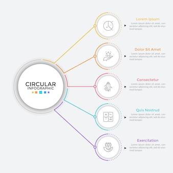 Fünf papierweiße runde elemente, die in einer vertikalen reihe angeordnet und durch linien mit dem hauptkreis verbunden sind. konzept von 5 business-features zur auswahl. einfache infografik-design-vorlage. flache vektorillustration.