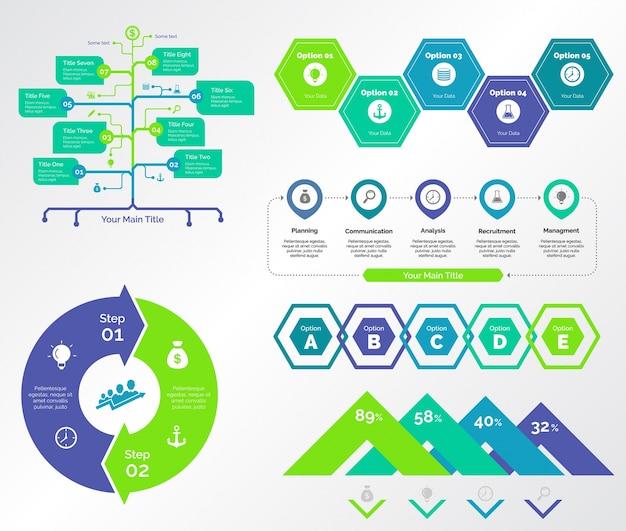 Fünf planungsdiagramme vorlagen set