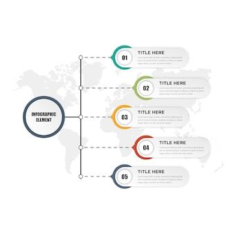 Fünf-punkte-infografik-element-geschäftsstrategie mit zahlen