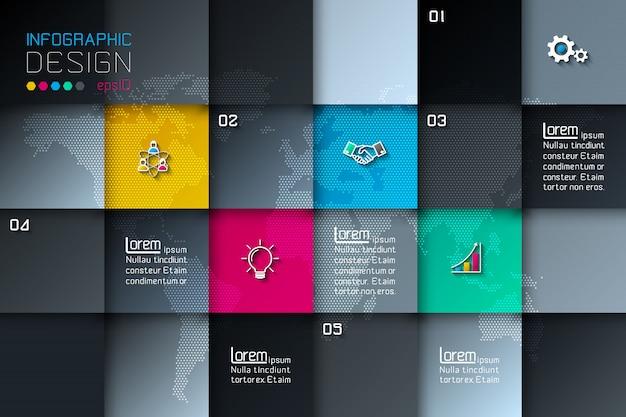Fünf quadratische etiketten mit geschäftsikoneninfografiken.