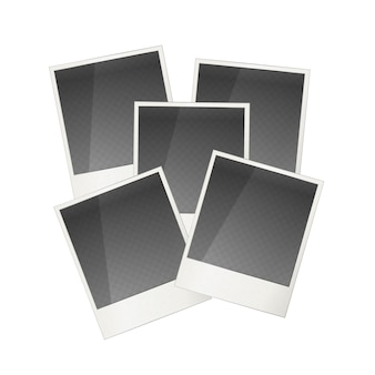 Fünf realistische polaroid fotorahmen isoliert