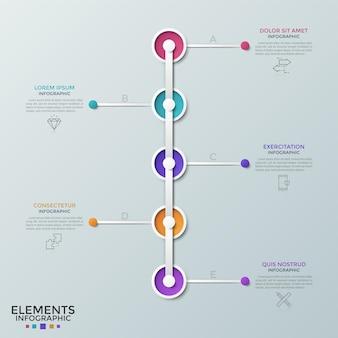 Fünf runde elemente, die in einer vertikalen reihe angeordnet und mit dünnen piktogrammen und textfeldern verbunden sind. zeitleiste mit 5 schritten. moderne infografik-design-vorlage. vektorillustration für die präsentation.