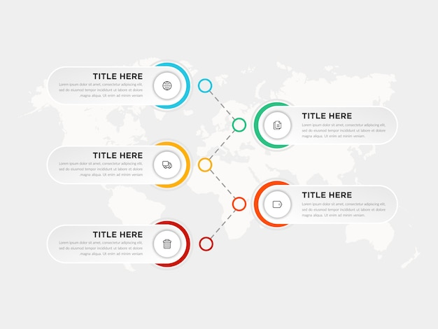 Fünf schritte infografik element geschäftsstrategie mit symbolen