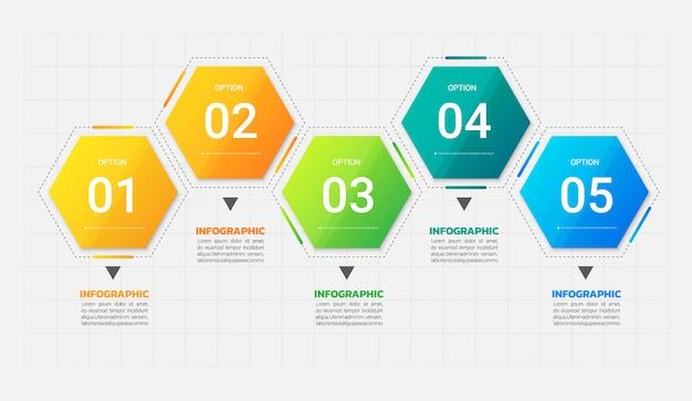 Fünf schritte infografiken vorlage