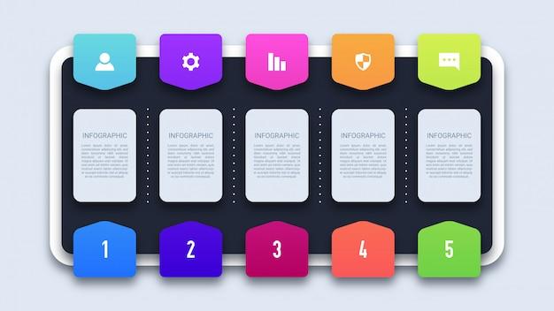 Fünf schritte moderne business-infografik