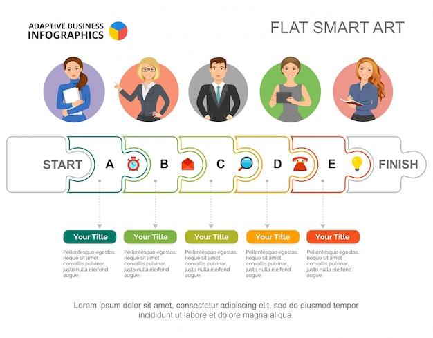 Fünf schritte teamwork diagramm folie vorlage