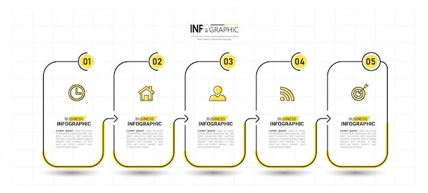 Fünf schritte timeline infografiken designvorlage.