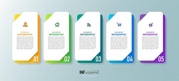 Fünf schritte zeitleiste infografiken design