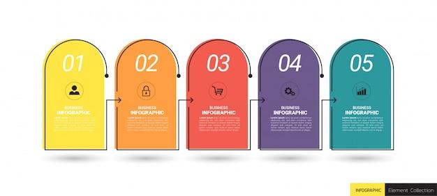 Fünf schritte zeitleiste infografiken designvorlage.