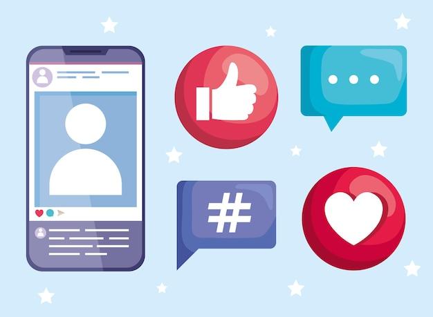 Fünf social-media-elemente