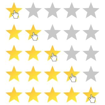 Fünf-sterne-bewertung. cursor-symbol. bewertung von 1 bis 5 sternen festlegen.