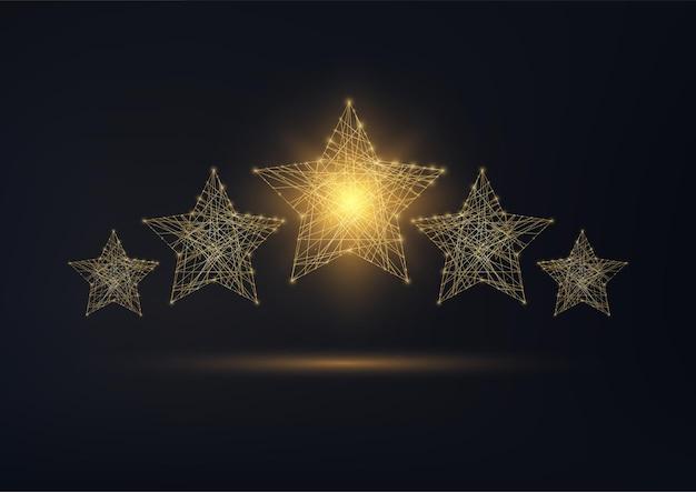 Fünf-sterne-bewertung, luxus-service, kundenzufriedenheitskonzept. golden leuchtend niedriges polygonales drahtgitterdesign