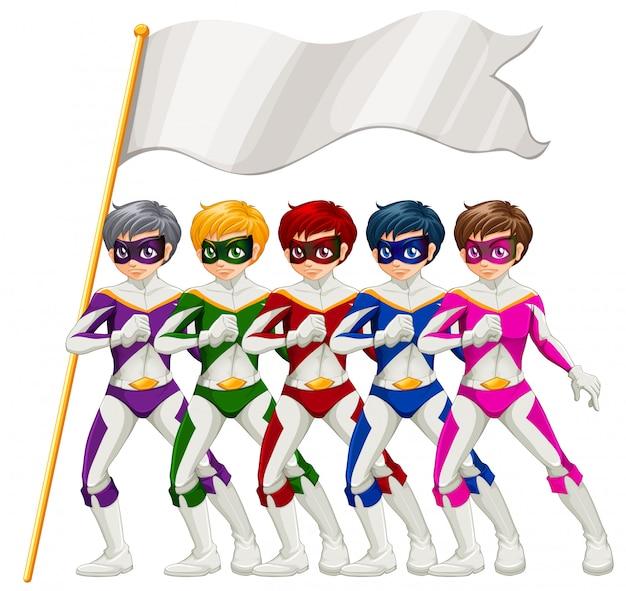Fünf superhelden und ein leeres banner