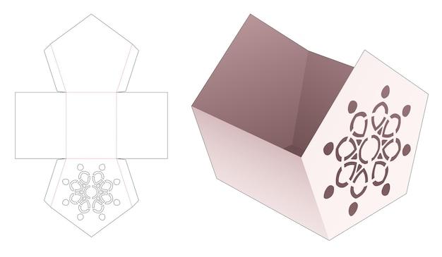 Fünfeckige schüssel mit schablonen-mandala-stanzschablone