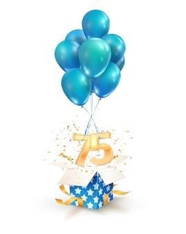 Fünfundsiebzig jahre feier grüße vom fünfundsiebzigsten geburtstag isolierte gestaltungselemente. öffnen sie eine strukturierte geschenkbox mit zahlen und fliegen sie auf luftballons
