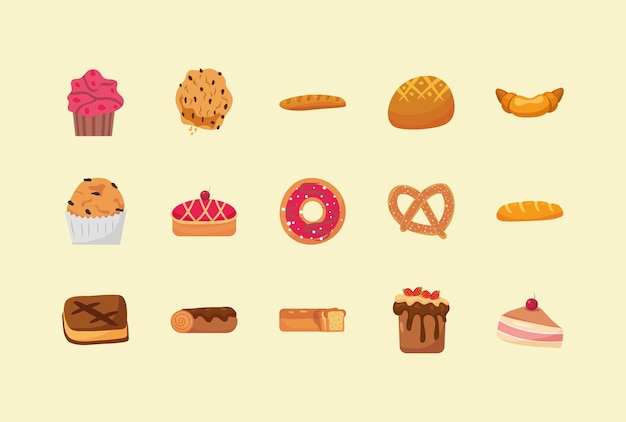 Fünfzehn bäckereielemente