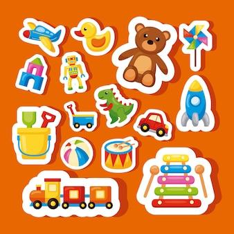 Fünfzehn kinderspielzeug-set-ikonen