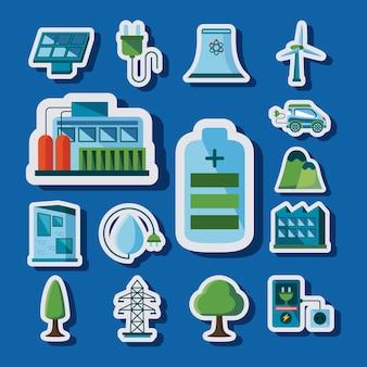 Fünfzehn saubere energieelemente