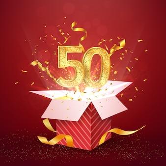 Fünfzig jahre jubiläum und offene geschenkbox mit explosionen konfetti isoliert designelement