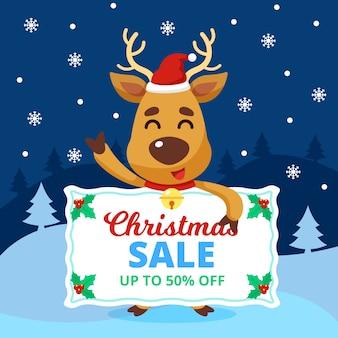 Fünfzig prozent weihnachtsverkauf im flachen design