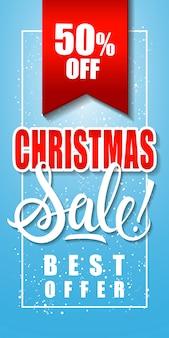 Fünfzig prozent weihnachtsverkauf inschrift