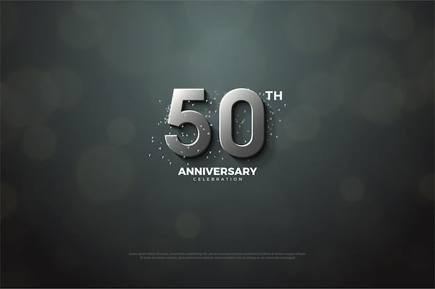 Fünfzigjähriges jubiläum mit silbernen zahlen