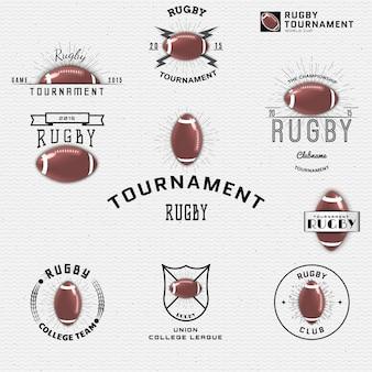 Für das design können logos und labels mit rugby-logos verwendet werden