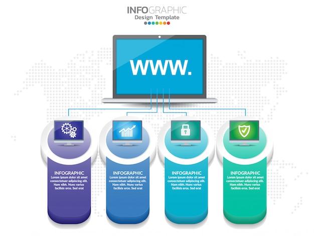 Für den arbeitsablauf können 4-steps-infografik-design und -symbole verwendet werden.