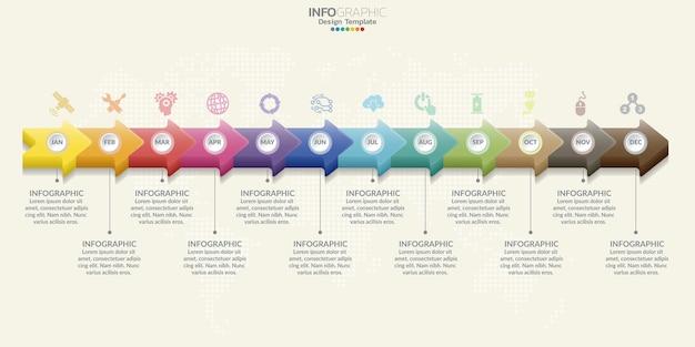Für den arbeitsablauf können ein 12-schritte-infografik-design und -symbole verwendet werden.