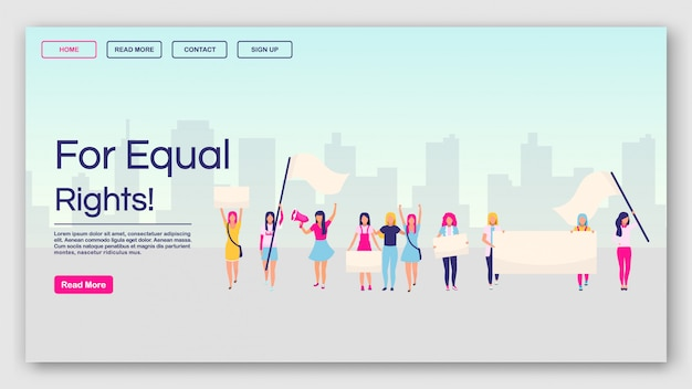 Für gleichberechtigte zielseitenvektorvorlage. feministische protestwebsite-schnittstellenidee mit flachen illustrationen. feminismus, girl power bewegung homepage layout.