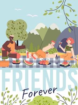 Für immer freunde karte mit menschen auf picknick illustration in flachen cartoon.