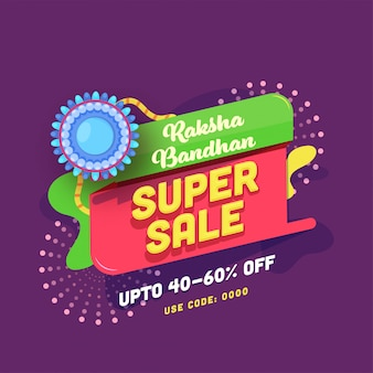 Für raksha bandhan super sale poster mit blauem rakhi.