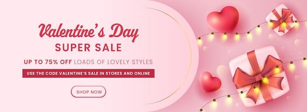 Für valentinstag sale header oder banner design mit top view geschenkbox und herzen illustration.