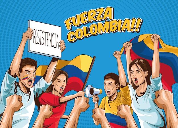 Fuerza-kolumbien-plakat mit gruppe kolumbianischer demonstranten