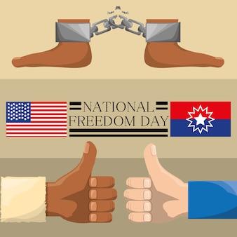 Füße mit kette und allen guten händen, um die freiheit zu feiern