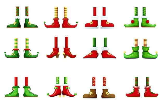 Füße und schuhe von kobold und weihnachtself gesetzt