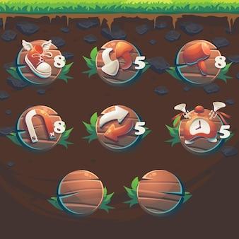 Füttere die fuchs-gui-match-3-booster für die benutzeroberfläche des spiels