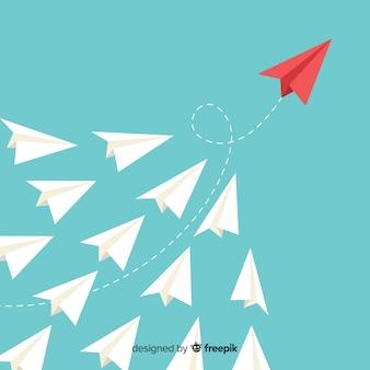 Führung und Papierflugzeugkonzept