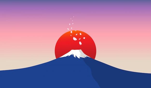 Fuji-berg mit roter sonne im hintergrund