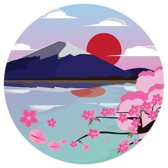 Fuji berg und sakura