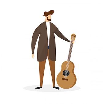 Full height bearded man hält akustikgitarre.
