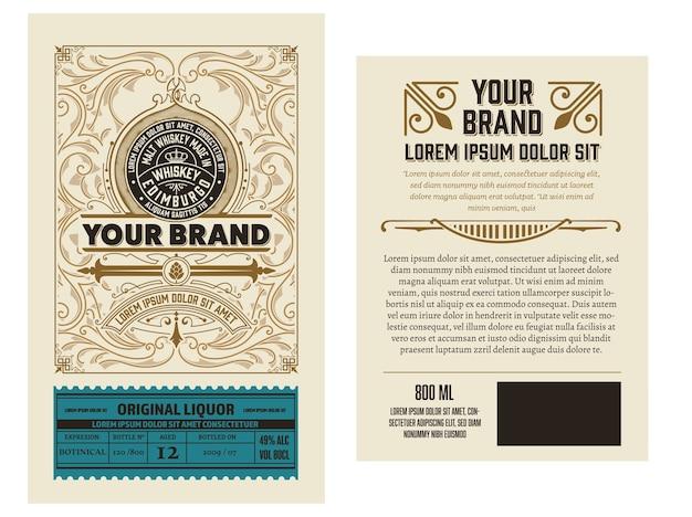 Full liquor label design mit vorder- und rückseite. geschichtet