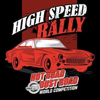 Full-speed-rallye, vektor auto illustrationen