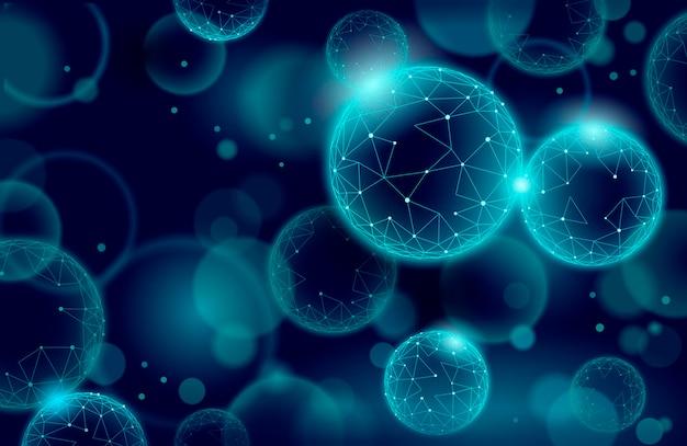 Fulleren-textur-cyberspace der 3d-nanotechnologie