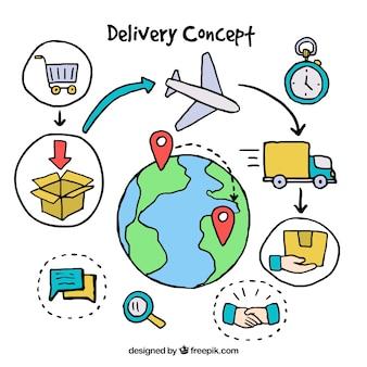 Fun-delivery-konzept mit verschiedenen elementen