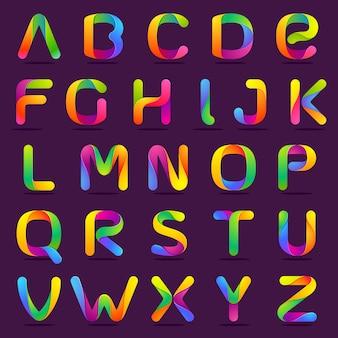 Fun englisch alphabet eine zeile bunte buchstaben gesetzt.