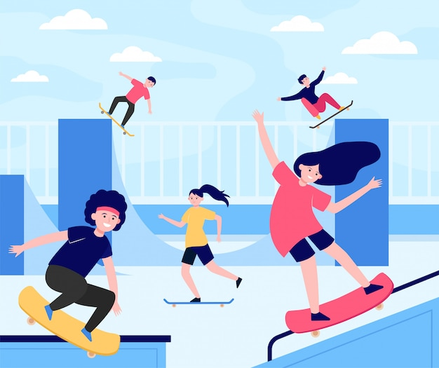 Fun extreme skateboard park flache illustration